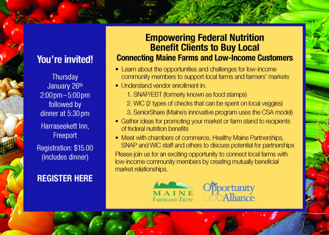 You're Invited!  Empowering Federal Nutrition Benefit Clients To Buy Local