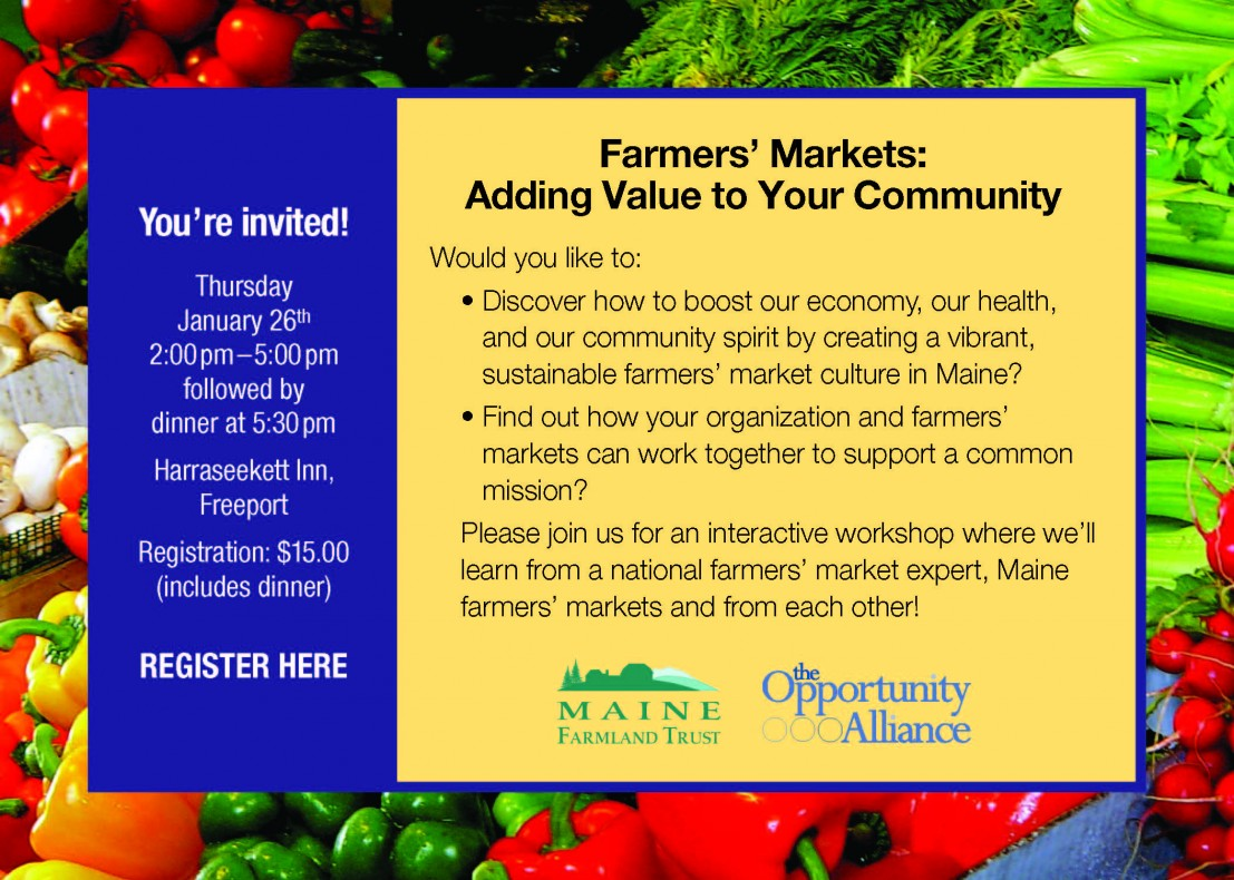 You're Invited! Farmers' Markets: Adding Value To Your Community