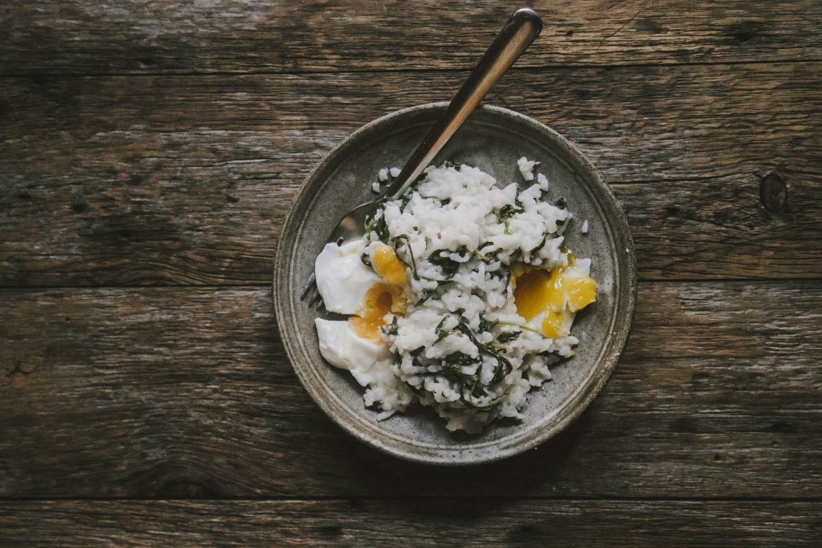 Maine Fare: A Spring Greens Risotto Over Farm-Fresh Poached Eggs