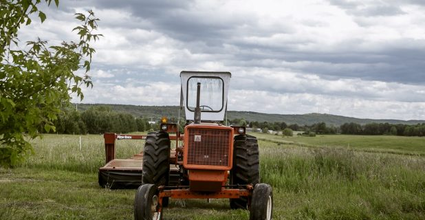 An Orange Tractor Against The Background Of Green Farmland.